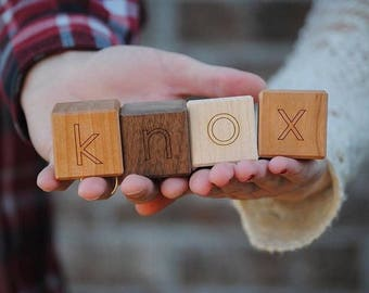 Baby Name Blocks - Wooden Toy - Baby Gift - Wood Alphabet Blocks Nursery Decor - Photo Prop - Letters Building Block Toy - BL11