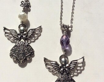 On Sale Angel pendant necklace. Antiqued silver angel necklace.Amethyst or lucite rose angel pendant.