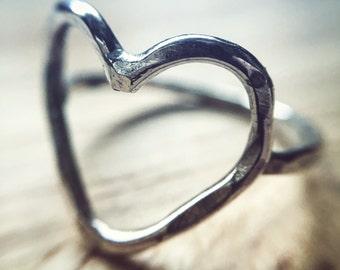 Heart Ring - Hammered Texture Outline - Alternative Engagement Wedding Ring - Jennifer Cervelli Jewelry