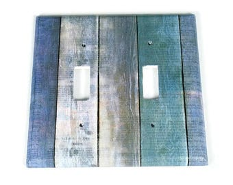 Double Switchplate  Light Switch Cover  Switch Plate in Blue Barnwood  (282D)