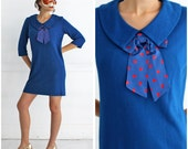 Vintage 1960s Royal Blue Wide Peter Pan Collar Dress with Polka Dot Neck Bow Tie by Carol Brent | Medium/Large