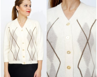 Preppy NWT Vintage 1960s Cream Wool Cardigan Sweater with Argyle Pattern by Colebrook | Medium/Large