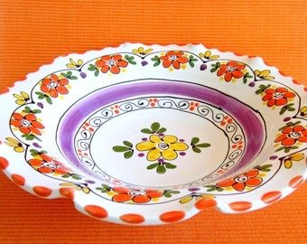 Bright Colorful Fluted Bowl