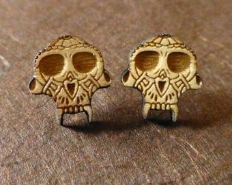 Skull Wooden Earrings