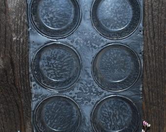 Vintage Gray Enamel Graniteware Muffin Tin Antique Kitchen Enamelware
