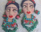 RESERVED - Lilygrace Hand Modelled Floral Frida Kahlo Bust Earrings with Real Emerald Chips and Vintage Rhinestones
