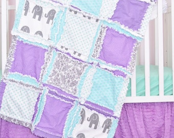 Elephant Crib Set - Mint / Gray / Purple Crib Bedding - Baby Bedding Sets- Jungle Nursery- Safari Nursery Decor - Rag Quilt / Sheet / Skirt