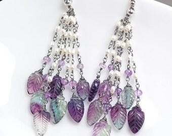 Fluorite earrings, Purple Green earrings, Leaf earrings, Fresh water pearls Amethyst oxidised 925 silver Earrings ... NIGHTSHADE Earrings