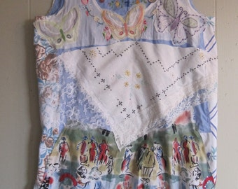 Butterfly Garden - Linens Lace Patchwork Couture  - Wearable Fabric Collage Folk Art - myBonny
