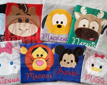 5+ Tsum Tsum Vacation Unisex Shirts  ADULT or KIDS Shirts with Character & Name ONLY (6 - 8 weeks)