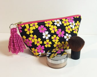 Super cute cosmetic toiletry makeup zipper bag made from recycled upcycled fabric - great gift