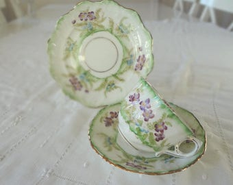 Royal Stafford China Hand Painted Trios Teacup Set Green & Purple Cup Saucer Plate Like Shelley Foley 10 Available  - EnglishPreserves