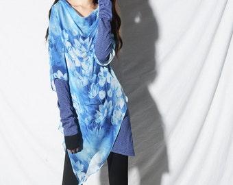 Morning Meditation - zen layered tunic dress / butterfly print tunic dress / lotus print tunic dress / asymmtrical tunic dress (Q5110z)
