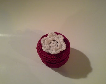 Stash Tin Covered in Victorian Red Crochet,  2oz.