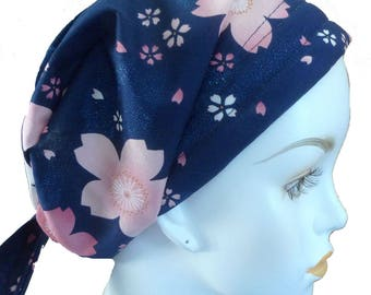 Navy Floral Chemo Cancer Hair Loss Scarf Turban Hat Bad Hair Day Headcover Hairwrap