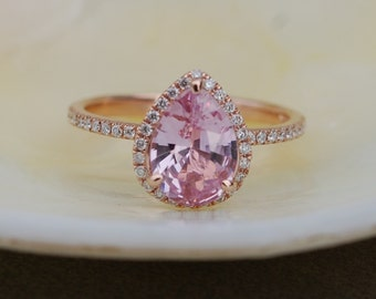 Engagement Ring Peach champagne Sapphire Engagement Ring 14k Rose Gold 1.83ct, Pear Peach Sapphire Ring. Engagement ring by Eidelprecious