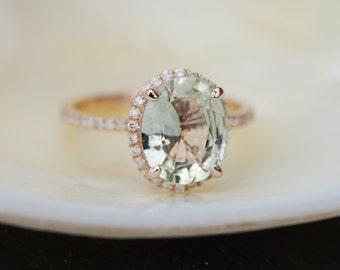 Sparkling Jasmine Green sapphire ring. 2.73ct oval sapphire ring. 14k rose gold engagement ring by Eidelprecious