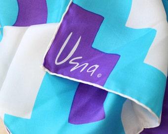 Vintage Vera Scarf. Funky purple Aztec design, vintage 1970s square.