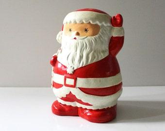 Santa.  Vintage 1970s ceramic collectible coin bank.