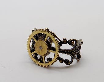 Steampunk jewelry Steampunk adjustable gear ring.
