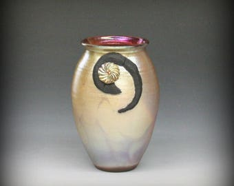 Raku Vase in Golden Iridescent Color
