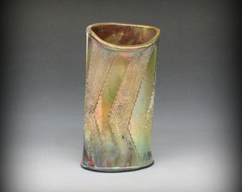 Raku Oval Vase with Gold Iridescence