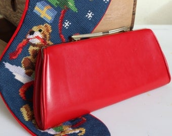 Red Leather Clutch - Gold clasp/handle  - party purse - Patriotic purse, Cherry red
