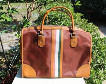 VINTAGE large weekender luggage, overnight bag, designer stripe, with lock & key
