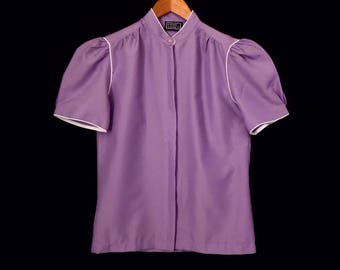 "80's lavender PUFF SLEEVE blouse // short sleeve purple top // silky polyester // size S . 36"" bust"