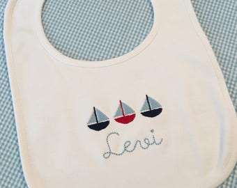 Monogrammed Sailboat Name Cotton Baby Bib Personalized Boy