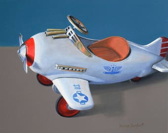 Vintage Airplane Pedal Car 8x10 original oil painting realistic still life by Nance Danforth