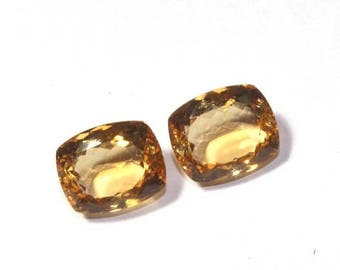 55% OFF SALE 2 pc 1 Match Pair AAA Natural Citrine Faceted Rectangle Cut Gemstones 12 x 9 Match Pair Citrine Loose Gemstone Ct17
