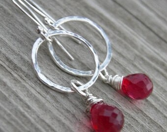 Ruby Red Quartz Sterling Silver Dangle Earrings