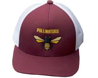 Pollinators Honeybee Trucker Hat in Maroon and White