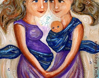 "Sharing Motherhood - original pregnant women babywearing painting on 11x14"" heavy paper"