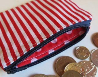 Red stripe coin purse - vertical stripe