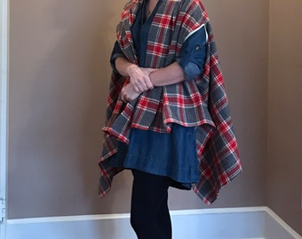 Red Gray Plaid Flannel Shawl Cape Scarf Poncho READY TO SHIP