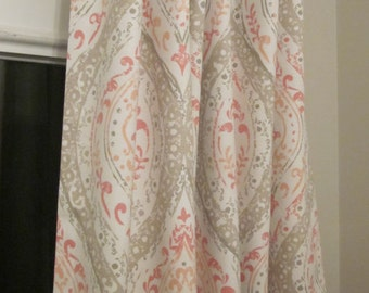 Coral and Tan Drapery Panels - Pair/ 2 Panels - Magnolia Home Fashions Ariana Fabric