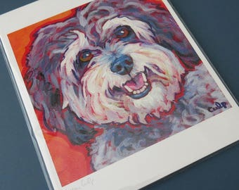 Grey & White SCHNOODLE Dog 8x10 Signed Art Print from Painting by Lynn Culp