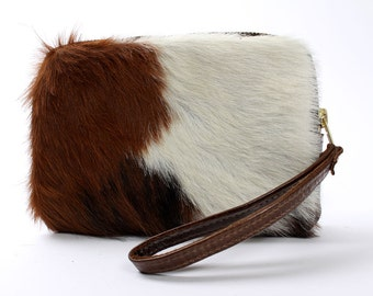 Cowhide Clutch Sheena Wallet in White and Brown Hair On Leather Bag