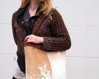 Large Leather Cowhide Leather Tote Bag