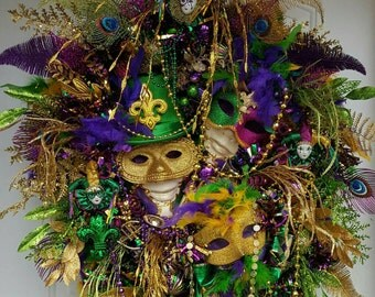 Sale XXL Mardi Gras wreath, Fat Tuesday, Huge, door wreath,  handmade wreath, Fleur De Lis, Masquerade  New Orleans
