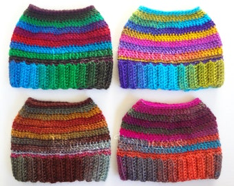 Messy Bun Hat Rainbow Ponytail Hat Whimsical Beanie, Crocheted Gift for Teens Adults