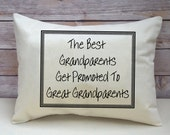 Great Grandparents, Pregnancy announcement, personalized pillow, hard to buy for, pregnancy reveal, gift for him, Mother's Day gift
