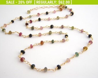 20% Off Sale Rainbow Tourmaline Strand Necklace, Rosary Style, Gold, Green, Pink, Black