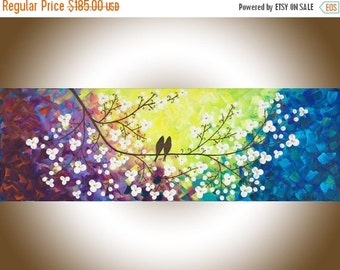 Colorful modern abstract painting white flowers Original artwork acrylic painting canvas painting impasto wall art Wall hanging wedding gift