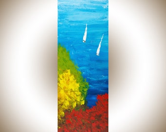 Sail boat painting rainbow art original artwork seascape red yellow green blue white palette knife painting wall art wall Decor wall hanging