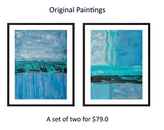 Set of two original painting abstract landscape painting turquoise blue painting on paper wall art wall decor home decor by qiqigallery