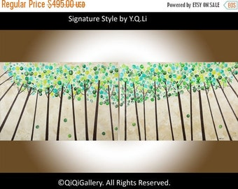 """Abstract painting 72"""" Large wall art canvas art painting on canvas signature impasto Swirl tree wall decor """"Looking Up"""" by QIQIGALLERY"""
