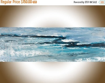 Abstract landscape painting original art painting on canvas art blue white art wall art wall Decor home decor wall hanging by qiqigallery